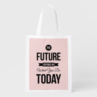 Pink The Future Wise Words Quote Grocery Bags