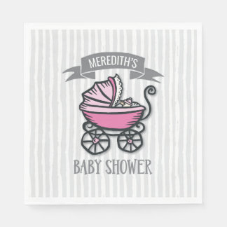 Pink-Themed Baby Shower Disposable Napkin