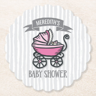 Pink-Themed Baby Shower Paper Coaster