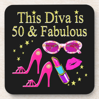 PINK THIS DIVA IS 50 & FABULOUS DESIGN BEVERAGE COASTER