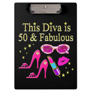 PINK THIS DIVA IS 50 & FABULOUS DESIGN CLIPBOARDS
