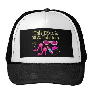 PINK THIS DIVA IS 50 & FABULOUS DESIGN TRUCKER HAT