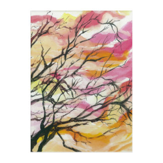 "Pink Through The Trees 10"" x 14"" Acrylic Wall Art"