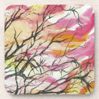 Pink Through The Trees Hard Plastic Coasters