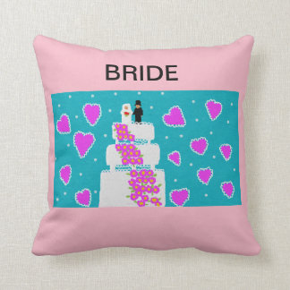 pink throw cushion for the bride/bride to be