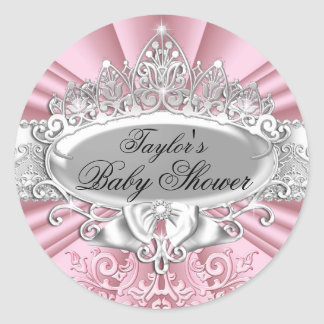 Pink Tiara & Damask Baby Shower Sticker