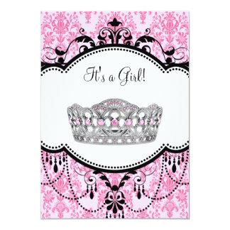 Pink Tiara Pink Black Damask Baby Shower Card