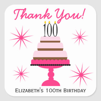 Pink Tiered Cake 100th Birthday Favor Stickers