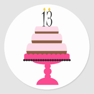 Pink Tiered Cake 13th Birthday Stickers