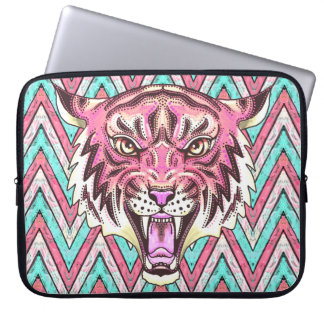 pink tiger chevron padded laptop sleeve