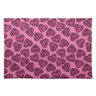 Pink tiger print hearts placemat