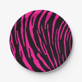 Pink Tiger Stripes Paper Plate