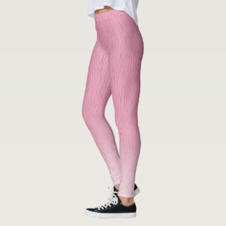 Pink to White Leggings with Pattern