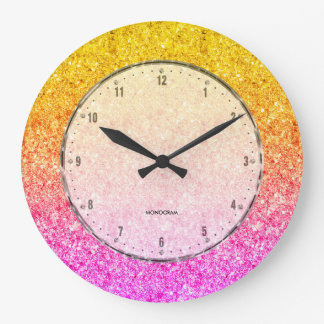 Pink To Yellow Glitter Texture Large Clock
