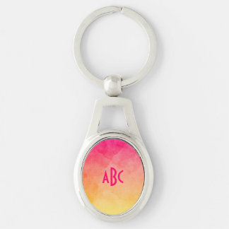 Pink to Yellow Watercolor Ombre Monogram Silver-Colored Oval Keychain