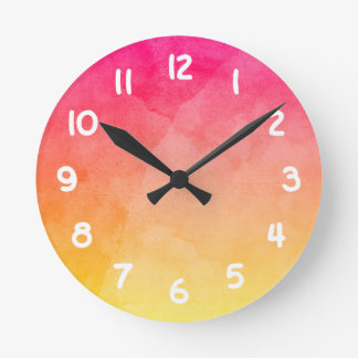 Pink to Yellow Watercolor Round Clock