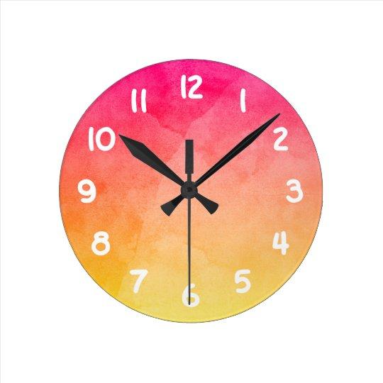 Pink to Yellow Watercolor Wall Clocks