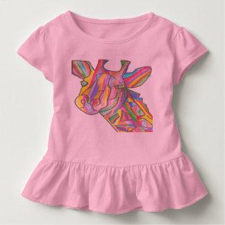 Pink Toddler Ruffle T-Shirt-Rainbow Giraffe Design Toddler T-shirt