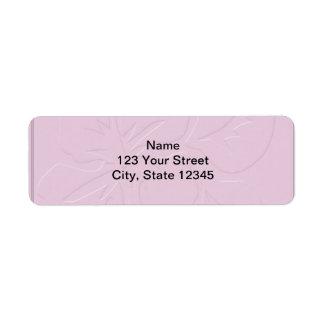 Pink Tone on Tone Hibiscus Return Address Label