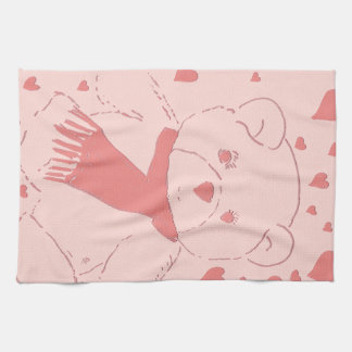 Pink Toned Teddy Bear Kitchen Towel