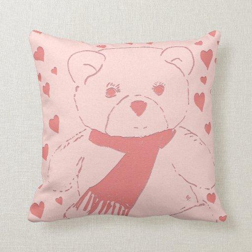 Pink Toned Teddy Bear Throw Pillows