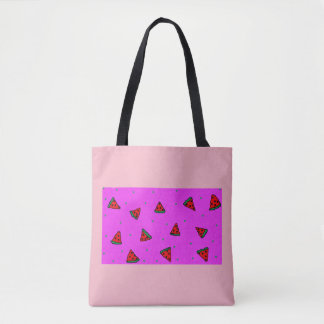 pink tote bag watermelon design