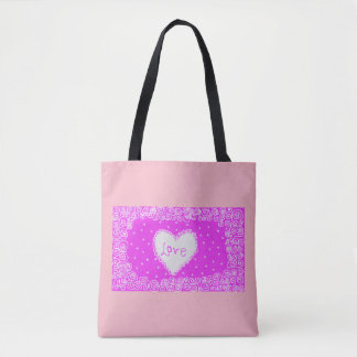 pink tote bag with love heart design