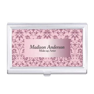 Pink Tourmaline Damask Print | Personalize Business Card Holder