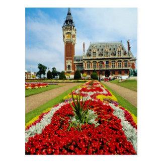 Pink Town Hall, Calais, France flowers Postcard