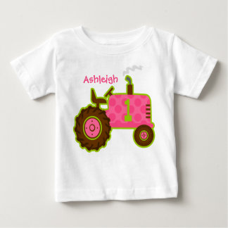 Pink Tractor 1st Birthday Personalized Baby T-Shirt