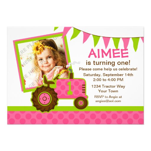 Pink Tractor 1st Birthday Photo Invitation