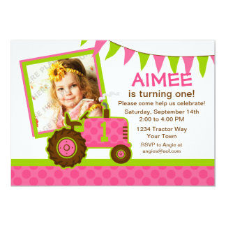 Pink Tractor 1st Birthday Photo Invitation