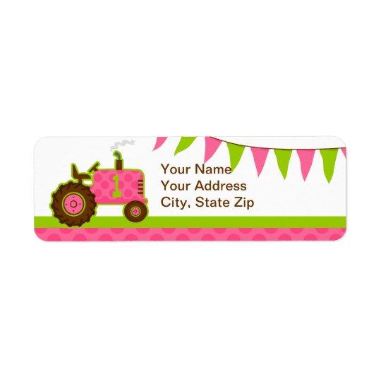 Pink Tractor 1st Birthday Return Address Label