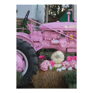 """Pink Tractor 5"""" X 7"""" Invitation Card"""