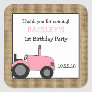 Pink tractor birthday party favor sticker