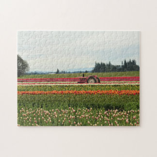Pink Tractor in Tulip Field Puzzle