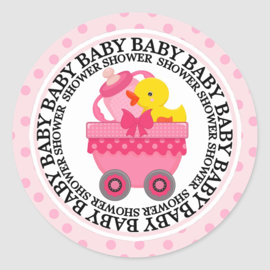 Pink Train Car and Toys Baby Shower Classic Round Sticker