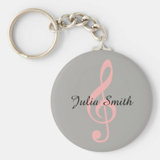 pink treble clef musical note with name keychain