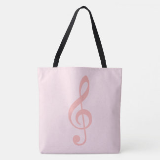 pink treble clef on very pale-pink tote bag