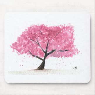 Pink tree cherry blossom mouse pad