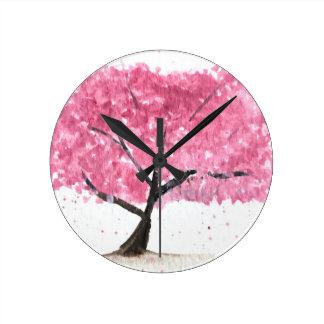 Pink tree cherry blossom round clock