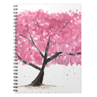 Pink tree cherry blossom spiral note books