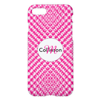 Pink Trendy Herringbone Check Pattern Personalized iPhone 7 Case