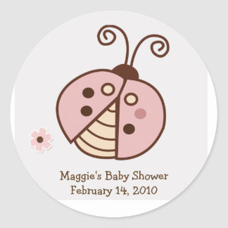 PINK TRENDY LADYBUG Round Favor Sticker