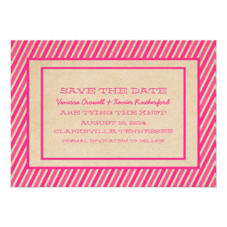 Pink Trendy Stripes Save the Date Invite