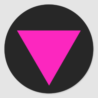 """PINK TRIANGLE"" GAY PRIDE CLASSIC ROUND STICKER"