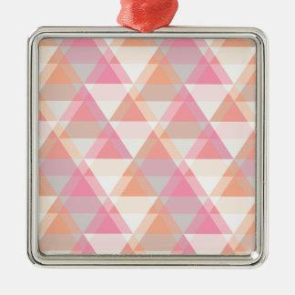 Pink Triangles Metal Ornament