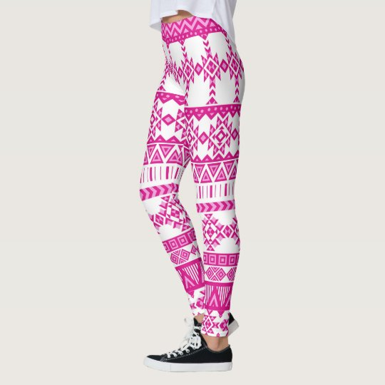 Pink Tribal Aztec Leggings