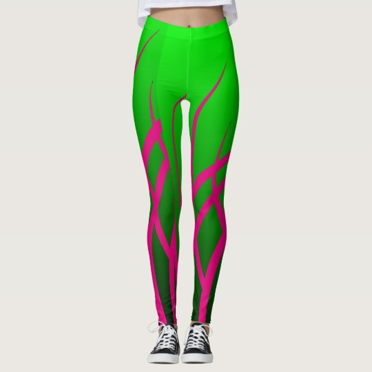 Pink Tribal on Green Leggings
