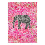 Pink Tribal Paisley Elephant Henna Pattern Posters